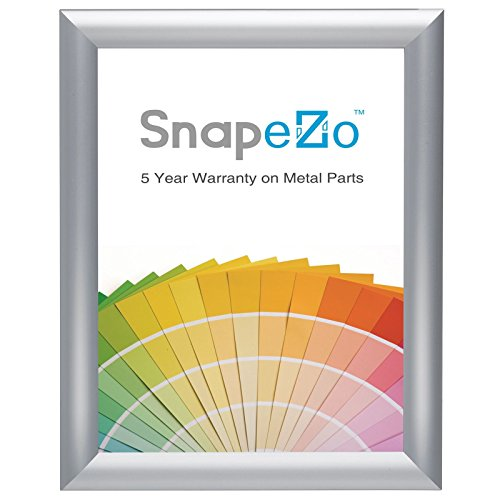 SnapeZo Photo Frame 8x10 Inches, Brushed Silver Effect 1 Inch Aluminum Profile, Front-Loading Snap Frame, Wall Mounting, Sleek Series