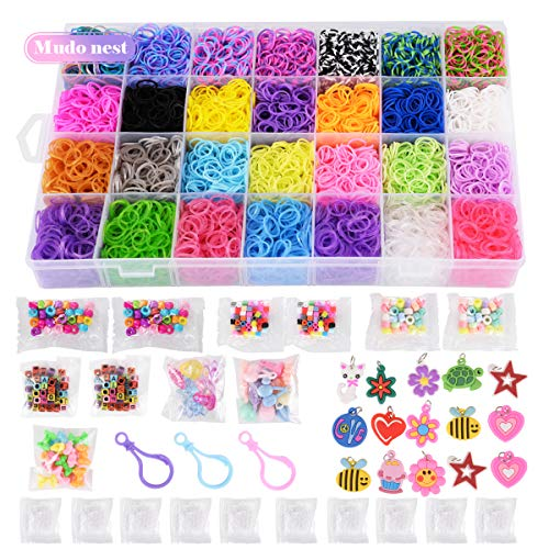 11,860+ Rubber Bands Refill Loom Set: 11,000 Premium Rubber Loom Bands 42 Unique Colors, 500 Clips, 210+ Beads, 85 ABC Beads to Bracelet Maker Making Kit for Kids, 46 Charms, 3 Backpack Hooks]()