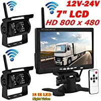 2x Wireless 18LEDs Night Vision Waterproof Backup Camera Rear View System for Bus Truck Trailer + 7 Wrieless Car TFT LCD Screen Color Rear View Monitor 12V-24V
