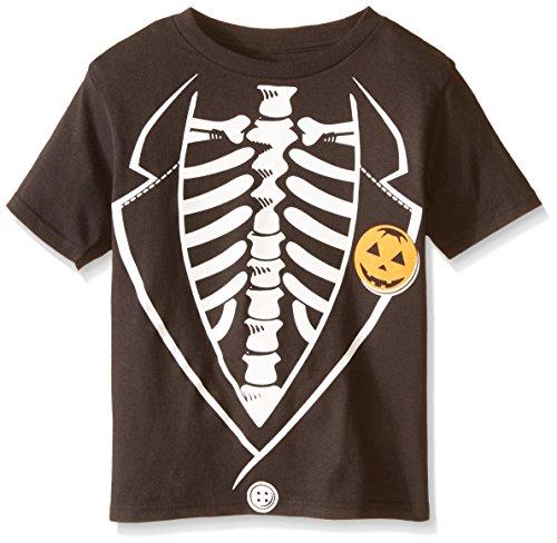 C-Life Group Little Boys' Halloween Skeleton Tuxedo Tee, Black, 7 (Halloween C)