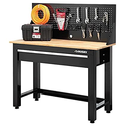Husky G4801S US 4 Ft. Solid Wood Top Workbench With Storage