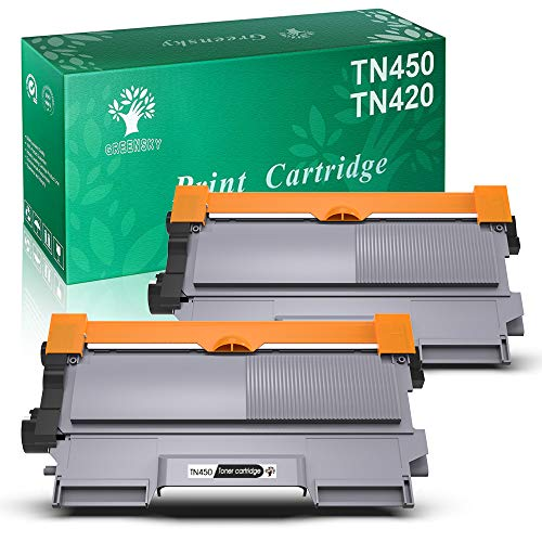 GREENSKY 2 Packs Compatible Toner Cartridges Replacement for Brother TN450 TN-450 TN420 TN-420 High Yield, Use for Brother HL-2270DW HL-2280DW HL-2230 HL-2240 HL-2240D MFC-7860DW MFC-7360N DCP-7065DN
