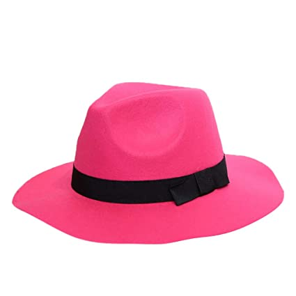 64d3e939e904a Amazon.com   Jesper Women s Classic Fedora Hat Solid Crushable Wool Outback  Hat Panama Hat Short Brim Hot Pink   Sports   Outdoors