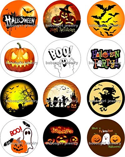 Calvas Halloween Boo! snap Button Jewelry Photo Round cabochon Flat Back Gl298 - (Color: 12pcs, Item Diameter: 18mm snap button01) -