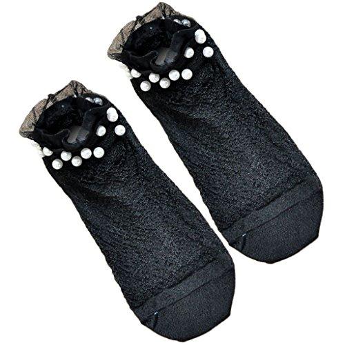 (XIAO-WU Women Transparent Socks Ultrathin Glass Silky Faux Pearl Short Ankle Socks Shiny - 9)