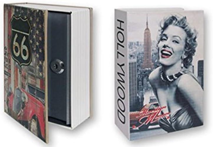 Dakota Hucha diseño Libro Secreto Grande, Caja Fuerte Oculta. Ruta 66 o Hollywood. 24 cm. 1 Unidad: Amazon.es: Hogar