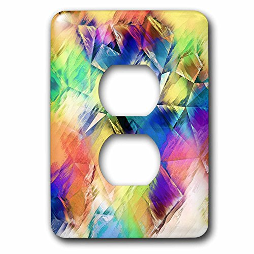 3D Rose LSP_243461_6 Painting Light to Shapes - Colorful Artistic Abstract with Textures 2 Plug Outlet Cover