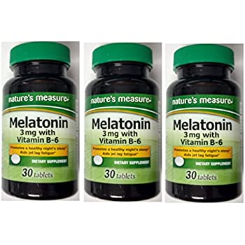 (3 Bottles) Natures Measure Melatonin 3mg With Vitamin B6 (30 tablets X 3=90 tablets)