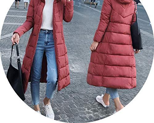 - Long Down Jacket Wateproof Windproof Winter Jacket Solid Slim Hooded Down Coat,Red 2,XL