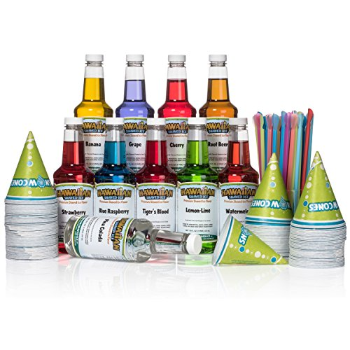 - Hawaiian Shaved Ice 10 Flavor Fun Pack of Snow Cone Syrup, 10 pints | Kit Features 10 Snow Cone Syrup Flavors (16 oz. Each) & 10 black bottle pourers, 100 cups and 100 spoon straws