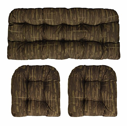 Star Cushion Short - RSH Décor Indoor/Outdoor Wicker Cushions Two U-Shape and Loveseat 3 Piece Set (Brown Multi Camouflage)