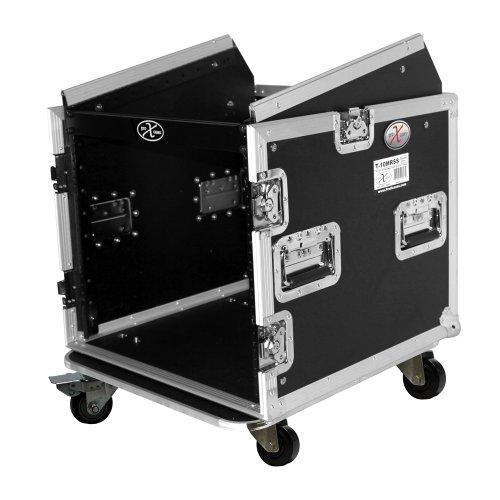 Amp Combo Rack Case - ProX Cases T-10MRSS 10 Space Amp Rack 10U Slanted Top DJ Mixer Combo Rack Road Gig Ready Flight Case