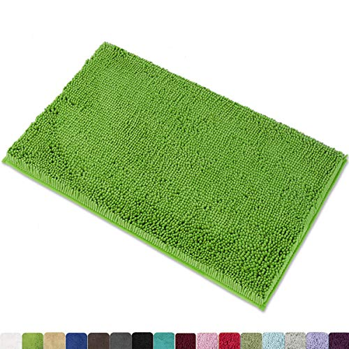 MAYSHINE 20x32 Inches Non-Slip Bathroom Rug Shag Shower Mat Machine-Washable Bath Mats with Water Absorbent Soft Microfibers of - Green (Green Small Rug)