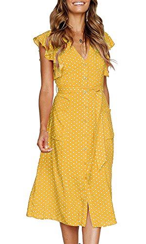 OURS Women's Bohemian Polka Dot Beach Sundress Sleeveless V Neck Midi Dress Belt (Yellow, XL) ()