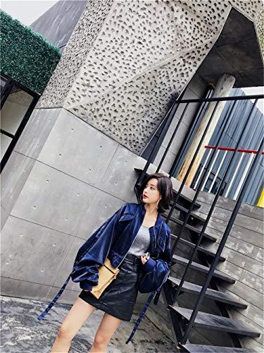 Fleurs Femme Young Tendance clair Fashion Loisir Fermeture Long Manches Blouson Brode Blouson Bomber Court Baggy avec Pilote Outerwear Blau Styles Fille Veste A4gwr4Ivq