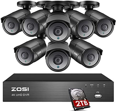 ZOSI Ultra HD 4K Home Security Camera System Outdoor Indoor, H.265 8 Channel CCTV DVR with 8 x 4K 8MP Surveillance Bullet Camera Weatherproof, 150ft Night Vision, 2TB Hard Drive, Remote Access