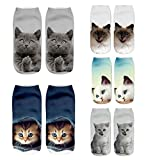 Zmart 5 Pack Womens 3D Print Cute Funny Crazy Cartoon Cats Short Ankle Low Cut Socks