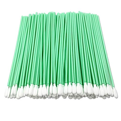 Sakolla 100Pcs Cleanroom Foam Swab - SU-162VPCTS Replace ITW Texwipe TX761 Alpha Swab with Long Handle Knitted Polyester Swab for Inkjet Print