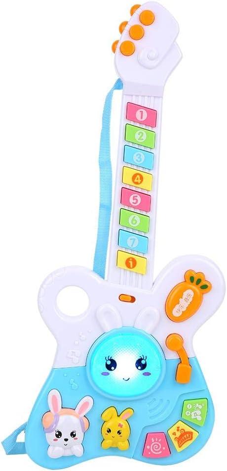 Zerodis Juguete de Guitarra para niño Juguete de Aprendizaje Instrumento Musical electrónico Juguete Educativo Regalo para niños(Azul)