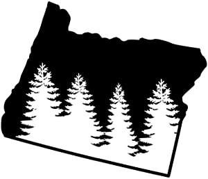 ND395 State Of Oregon Pine Tree Decal Sticker | 5.5-Inches By 4.6-Inches | Premium Quality Black Vinyl