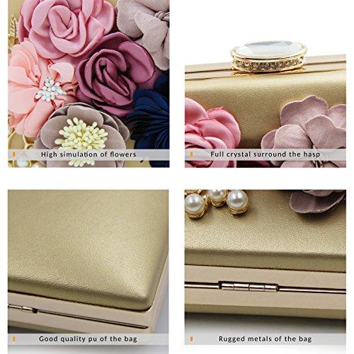 de Bolso Mujer de Embrague Boda Oro Bolsa Rosa Noche Milisente Flor Elegante qw1XTEp