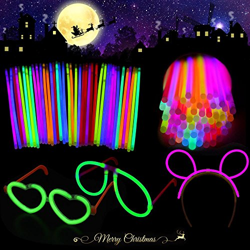 Glow Sticks Bulk,Bonwayer Christmas Light Up Bracelets Mixed Colors Party Favors for Kids and Adults with Connectors for Necklace Glasses Flower Balls and Luminous Headband 221 Pcs