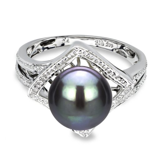 14k White Gold Illusion 9-9.5mm Round Black Tahitian Cultured High Luster Pearl Ring, Size (Pearl Tahitian Ring)