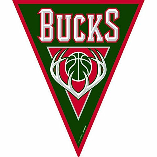 fan products of Amscan Amazing Milwaukee Bucks NBA Pennant Banner, 12', Red/Green