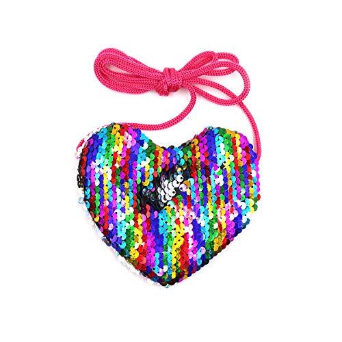 ZGMYC Little Girls Glitter Reversible Sequins Crossbody Purse Mini Heart-Shaped Shoulder Bag Satchel
