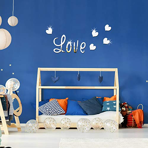 DIY Silver Love Live Laugh Heart Mirror Combination 3D Mirror Wall Stickers Home Decoration (Silver Love Live Laugh… 6