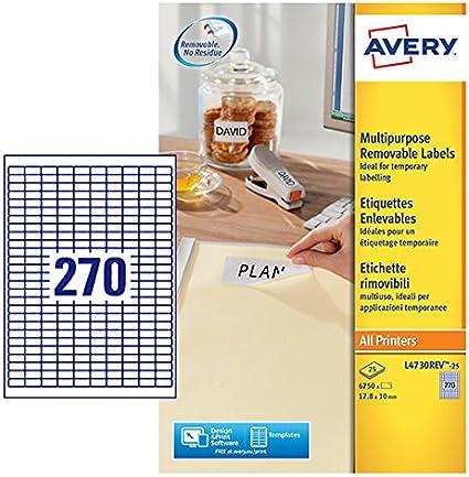 63.5 x 46.6 mm Avery Italia L6025REV-25 Etichetta Rimovibile