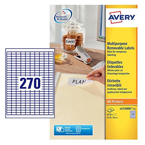 13 opinioni per Avery L4730REV-25 Etichette Rimovibili, 270 Pezzi per Foglio, 25 Fogli, 17.8 x