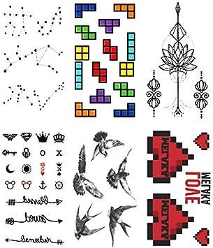 Oottati 6 Hojas Pequeño Lindo Tatuaje Temporal Tattoo Constelación ...