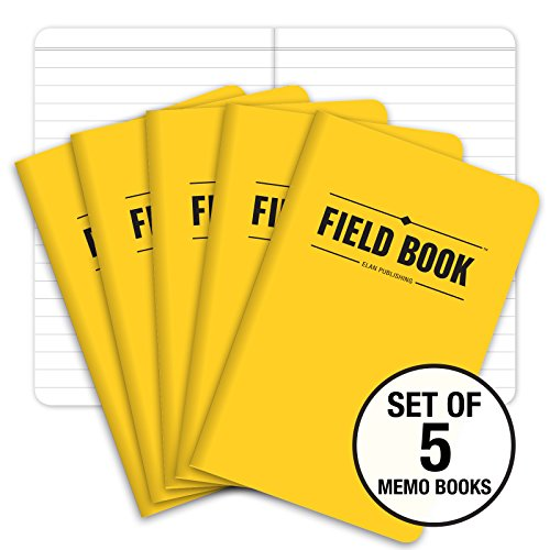 Field Notebook - 3.5x5.5 - Yellow - Lined Memo Book - Pack of 5