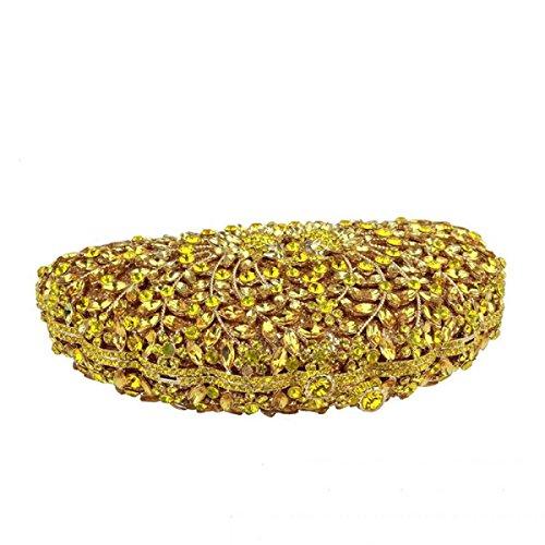 Paquete Nupcial Bolso De Cristal De Diamante De Tarde Del Bolso De Señora Yellow