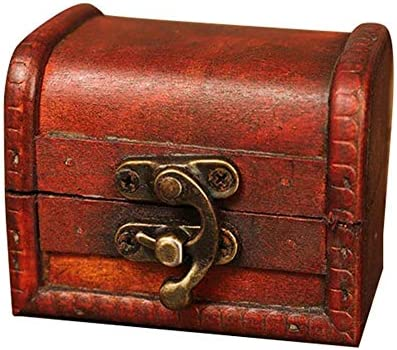lembrd Vintage Schmuckschatulle Schatztruhe Klein Schmuckkästchen Holz Holztruhe Schatzkiste Piraten Schatzsuche - Make-Up-Aufbewahrungsbox Für Persönlichen Gebrauch Und Geschenke