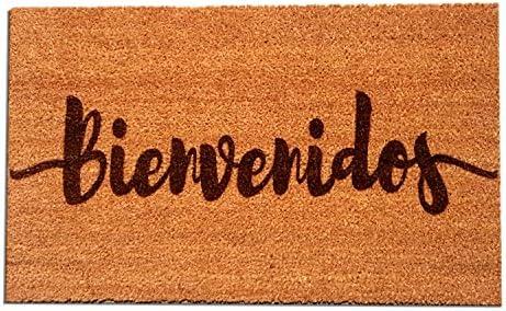 Coir Fiber Laser Engraved Doormat 30 x 18 Bienvenidos