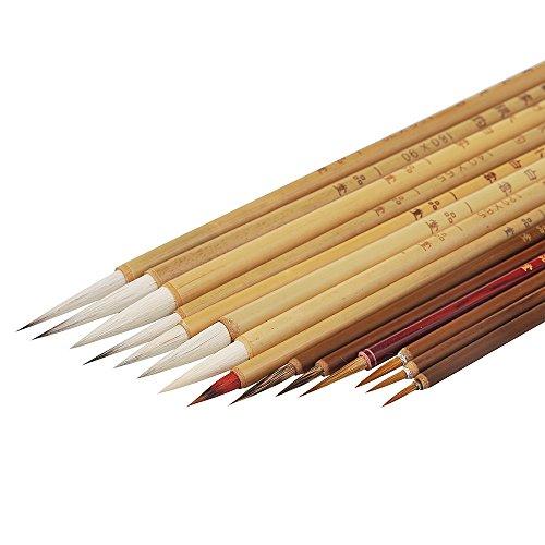 MB045 Hmay Classic Brush Pen Set for Gongbi Painting / 14 Brushes Plus 1 Bamboo Wrap by Hmay Brush Pen