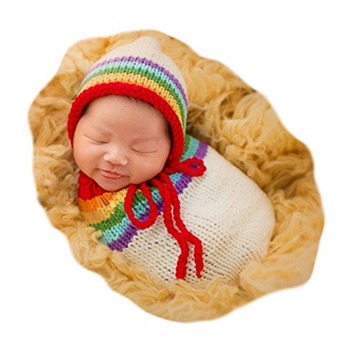 Fashion Cute Unisex Newborn Boys Girls Baby Outfits Photography Props Rainbow Sleeping Bag