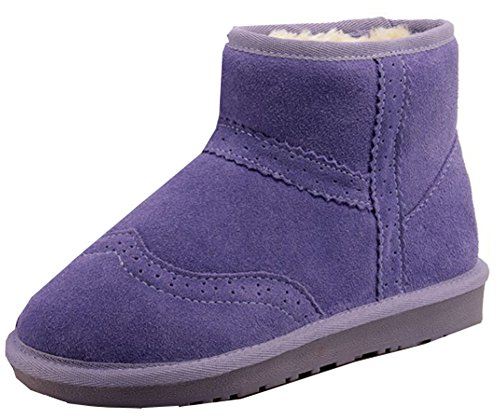 Easemax Women's Warm Pull On Low Wedged Heel Round Toe Short Ankle High Snow Boots Purple fi3QOJVrBA