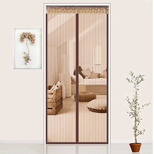 Silk Road Stripe Mute Mosquito curtain, Anti mosquito bug Magnetic screen door Velcro Window scree Summer For Bedroom Living room Encryption Double door screen-Brown 70x200cm(28x79inch) (Stripes Tiers Curtain)