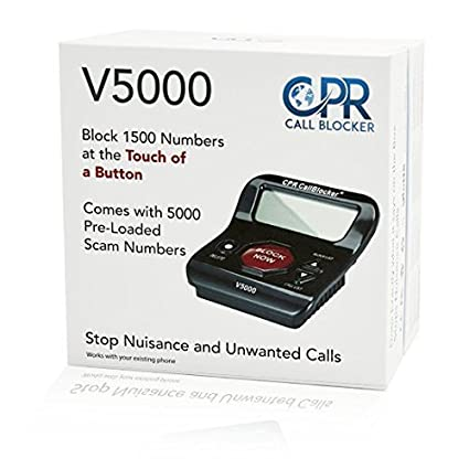CPR V5000 Call Blocker for Landline Phones - Pre-loaded with 5000 known  Robocall Scam numbers - Block a further 1500 numbers at a Touch of a Button  -