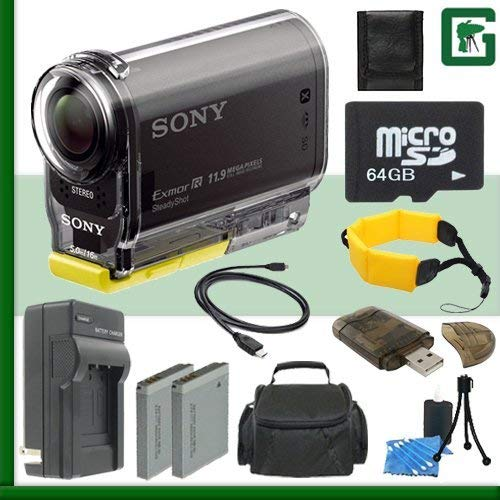 Sony HDR-AS20 HD POV Action Cam (Black) + 64GB Green's Camera Bundle 3 by Sony