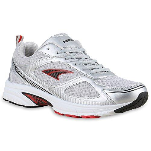 Stiefelparadies Herren Laufschuhe Sneakers Runners Sportschuhe Lack Flandell Silber Rot