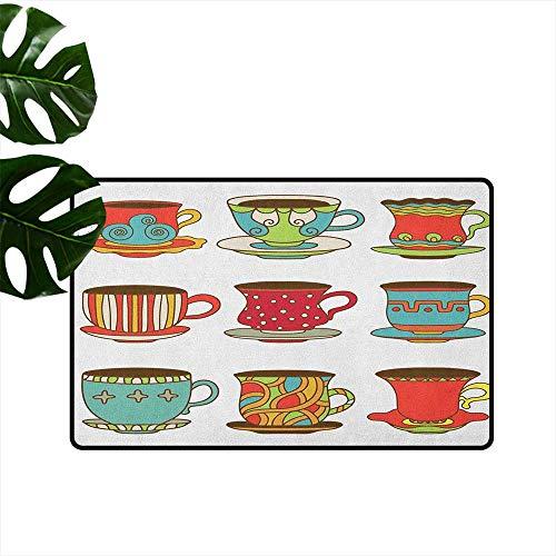 RenteriaDecor Tea Party,Durable Rubber Door Mat Colorful Vivid Teacup Design Cartoon Drawing Style Breakfast Brunch Illustration 31