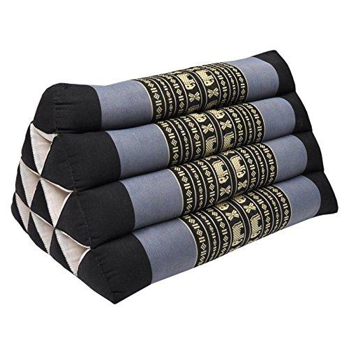 Thai triangular cushion, relaxation, beach, kapok, made in Thailand, Black/Violet (81300) by Wilai GmbH
