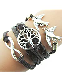 T'aimer Silver Tone Infinity Love Birds Tree Of Life Multilayer Wrap Suede Black Leather Rope Bracelet
