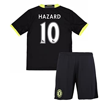 For Youth Kid Children Chelsea FC 2016 2017 10 Eden Hazard Away Football  Soccer Jersey In Black  Amazon.co.uk  Sports   Outdoors 0dd88a2e5