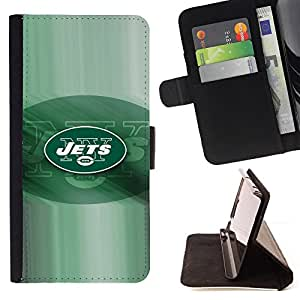 JETS Football Team - Painting Art Smile Face Style Design PU Leather Flip Stand Case Cover FOR Samsung Galaxy Note 4 IV @ The Smurfs