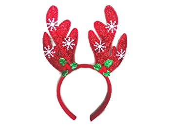 10326daa43d7e Image Unavailable. Image not available for. Color  Christmas Headband  Reindeer Antlers Clips Santa Hats ...